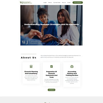 Finance Advisor Website Design - WJ Accounting and Business Services